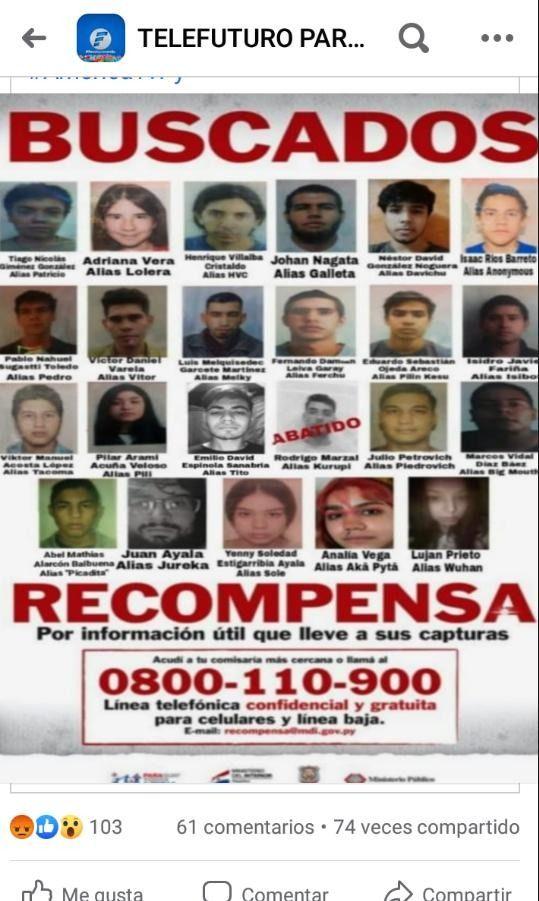Delincuentes más buscados del Paraguay.